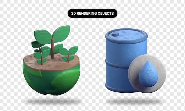 Planta de renderizado 3d y barril de petróleo.