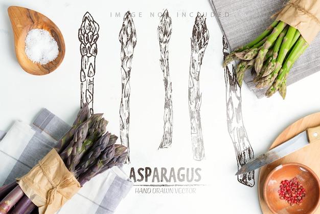 Plantaardig oppervlak van twee trossen vers geplukte biologische natuurlijke asperges en soorten ingrediënten voor het koken van zelfgemaakte diëten op een lichtgrijze ondergrond kopie ruimte bovenaanzicht