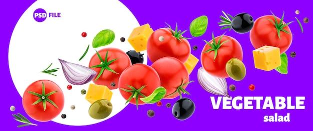 Plantaardige salade ingrediënten geïsoleerd