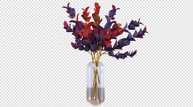 Plantas de colores en jarrón de vidrio 3d render