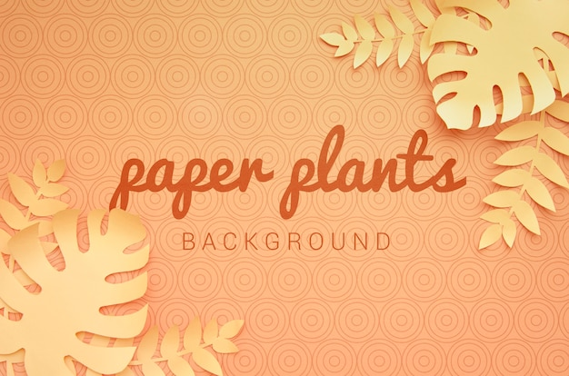 Plantas de papel monocromo fondo naranja