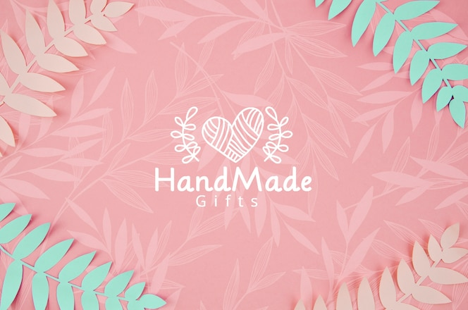 Plantas de papel rosa y azul fondo hecho a mano