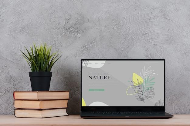 Plante en libros al lado de la computadora portátil en la oficina