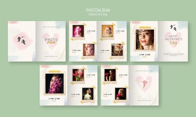 Plantilla de álbum de fotos para el día de san valentín