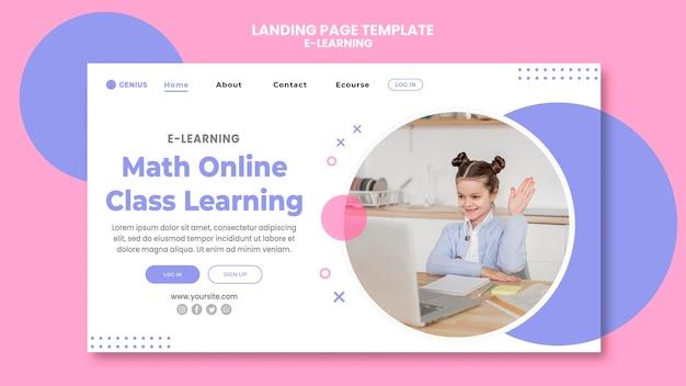 Plantilla de anuncio de aprendizaje electrónico de página de destino