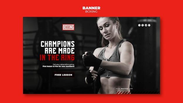 Plantilla de anuncio de banner de boxeo
