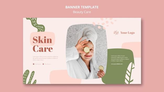 Plantilla de anuncio de banner de cuidado de la belleza