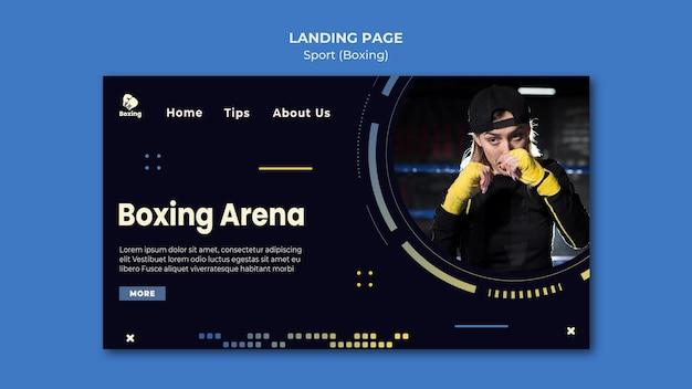 Plantilla de anuncio de boxeo de página de destino
