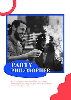 Plantilla de anuncio de filósofo del partido psd cartel de organización de eventos