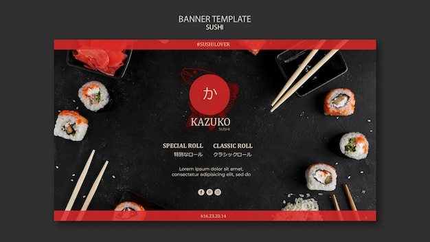 Plantilla de anuncio de restaurante de sushi de banner
