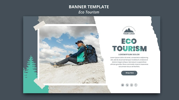 Plantilla de anuncio de turismo ecológico de banner
