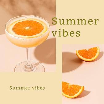 Plantilla de anuncio de vibraciones de verano psd publicación editable