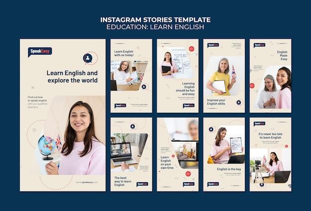Plantilla de aprender historias de instagram en inglés
