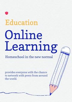 Plantilla de aprendizaje en línea psd tecnología futura