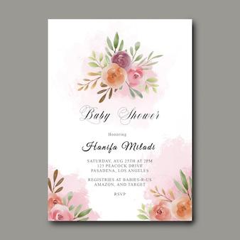 Plantilla de baby shower con ramo de flores de acuarela