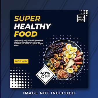Plantilla de bandera cuadrada de alimentos saludables