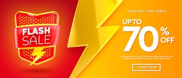 Plantilla de banner 3d de venta flash con 70% de descuento