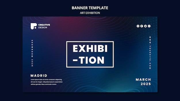 Plantilla de banner abstracto de exposición de arte