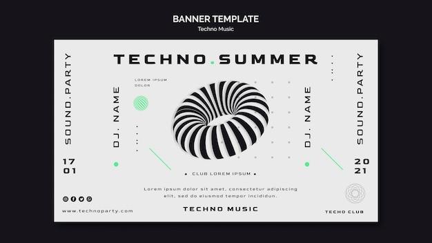 Plantilla de banner abstracto de festival de música techno