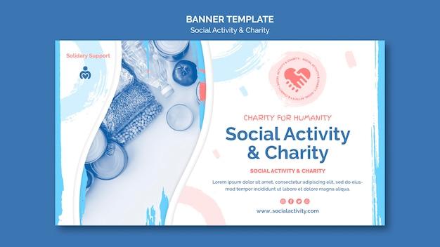 Plantilla de banner para actividad social y caridad.