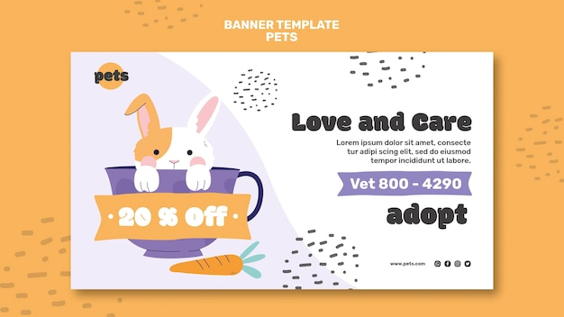 Plantilla de banner de adopción de mascotas