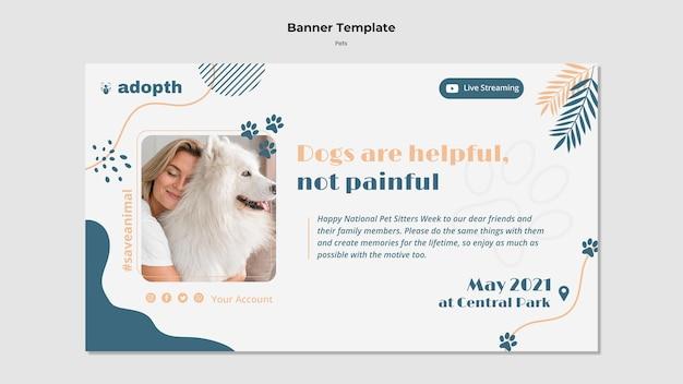 Plantilla de banner para adopción de mascotas.