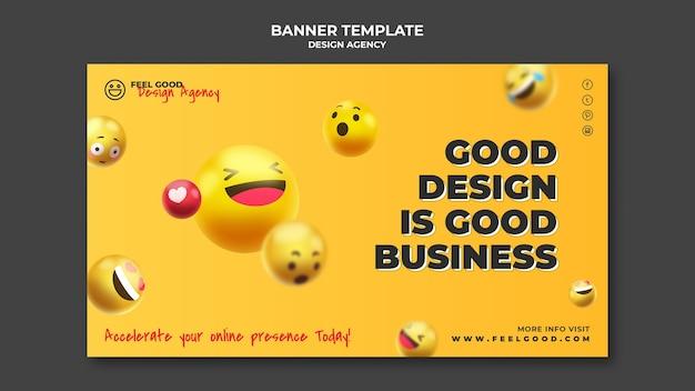 Plantilla de banner de agencia de diseño