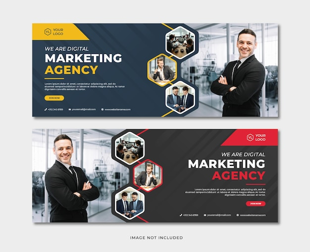 Plantilla de banner de agencia de marketing digital profesional