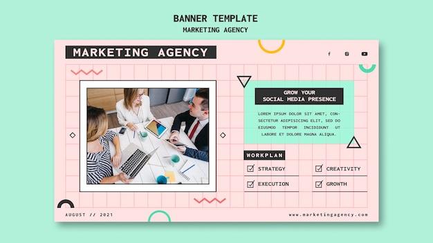 Plantilla de banner de agencia de marketing en redes sociales