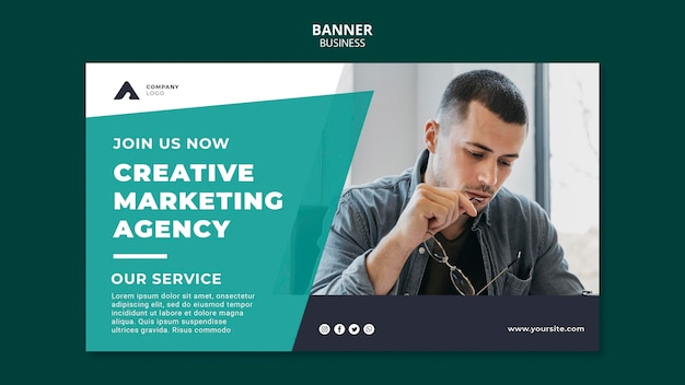 Plantilla de banner de agencia de marketing