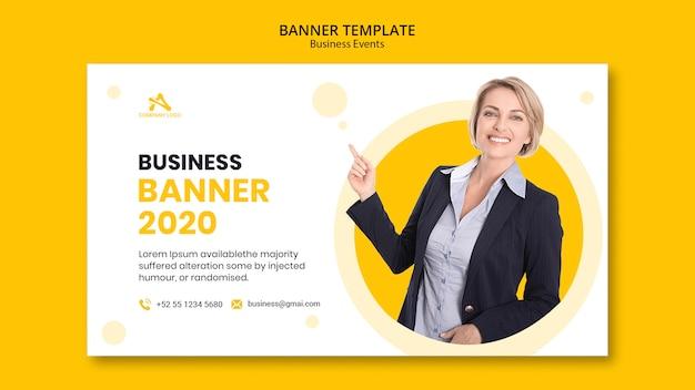 Plantilla de banner amarillo de negocios