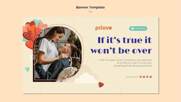 Plantilla de banner para amor con pareja romántica y corazones.