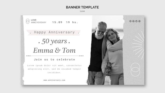 Plantilla de banner de aniversario de pareja