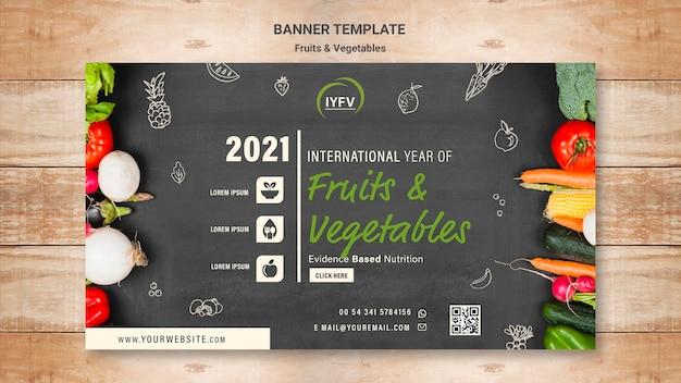 Plantilla de banner de año de frutas y verduras