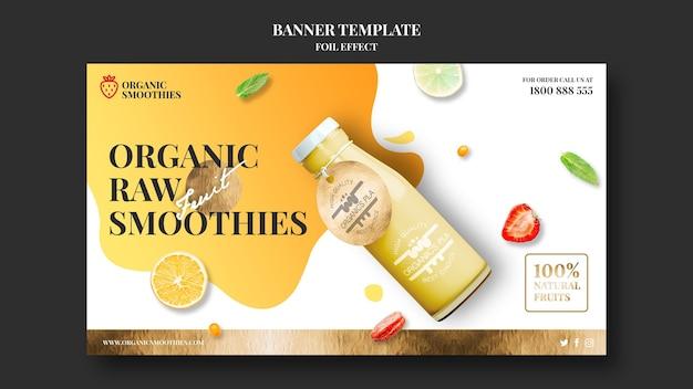 Plantilla de banner de anuncio de batidos orgánicos