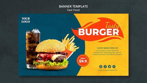 Plantilla de banner de anuncio de comida rápida