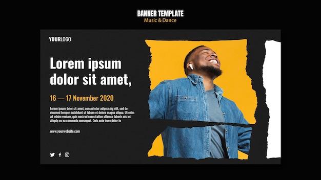 Plantilla de banner de anuncio de evento de música y danza