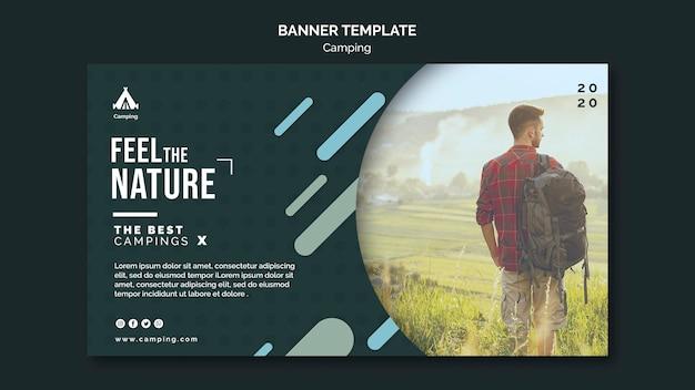 Plantilla de banner de anuncio de lugar de camping