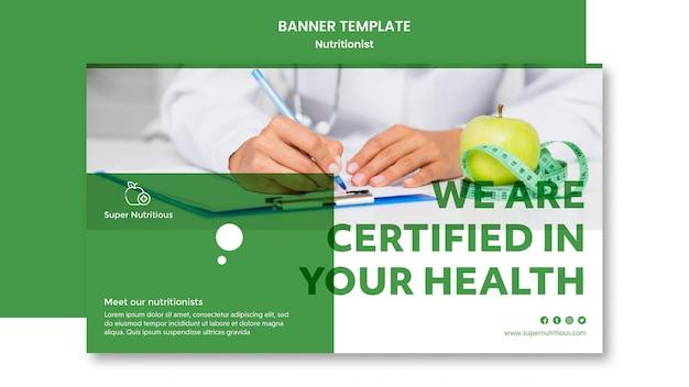 Plantilla de banner con anuncio nutricionista