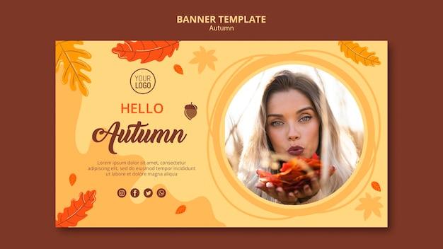 Plantilla de banner de anuncio de otoño