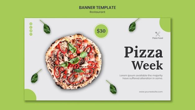 Plantilla de banner de anuncio de restaurante de pizza