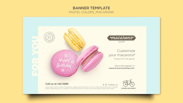 Plantilla de banner de anuncio de tienda de macarons