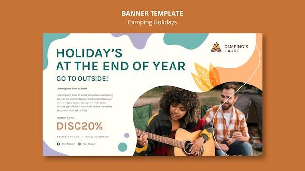 Plantilla de banner de anuncio de vacaciones de camping