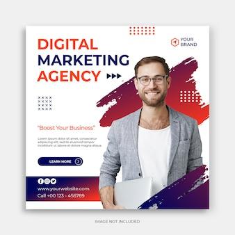 Plantilla de banner de anuncios o publicación de instagram de marketing de negocios digitales