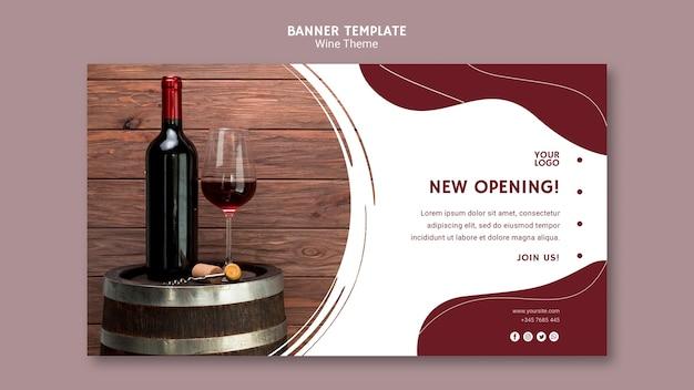 Plantilla de banner de apertura de vino