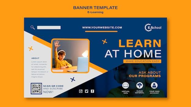 Plantilla de banner de aprender en casa