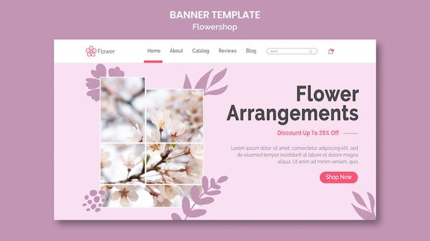 Plantilla de banner de arreglos florales