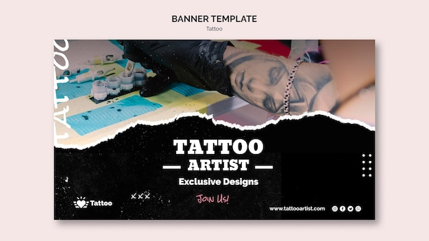 Plantilla de banner de artista del tatuaje