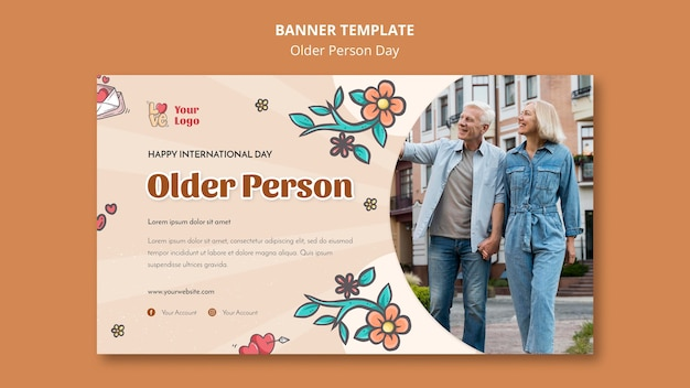 Plantilla de banner para asistencia y cuidado de personas mayores