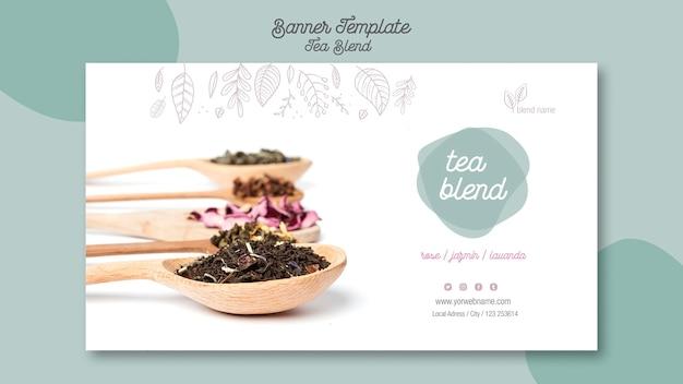 Plantilla de banner de aterrizaje de mezcla de té